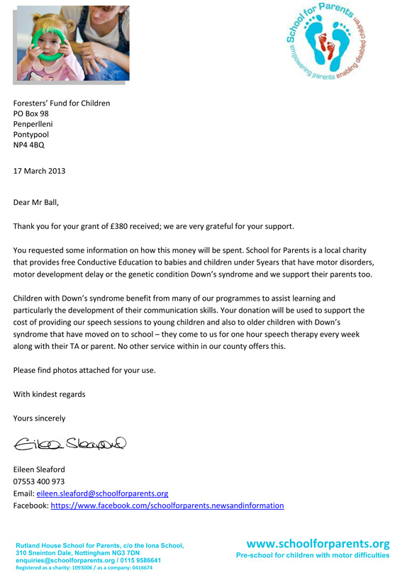 School for Parents thank you letter