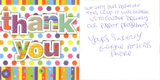 Thank you card from KidzAware